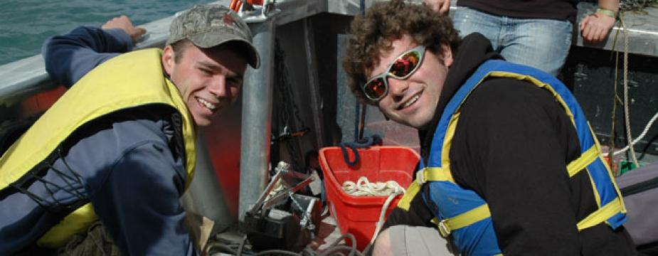 Students on a research vessel